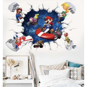 Muursticker Super Mario 3D Kapotte Muur