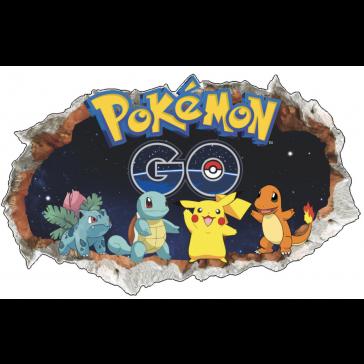 Pokemon Go - 3D - Muursticker - Kinderkamer decoratie