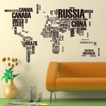 Muursticker Wereldkaart met Namen van Landen zwart