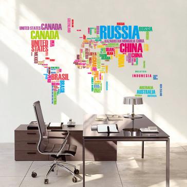 Muursticker Wereldkaart met Namen van Landen