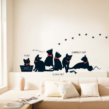 Muursticker zwarte katten