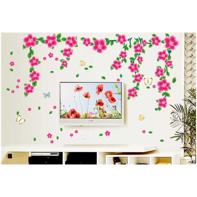Vlinder Muurstickers   Roze Bloemen   Gratis Verzending