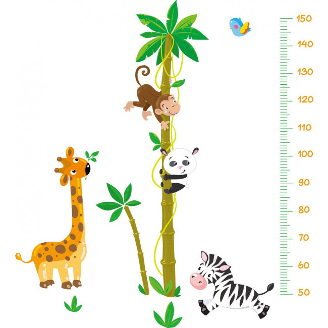 Muursticker Giraffe Kinderkamer.Muurstickers Lengtemeter Bamboe Dieren Mooiemuurstickers Nl