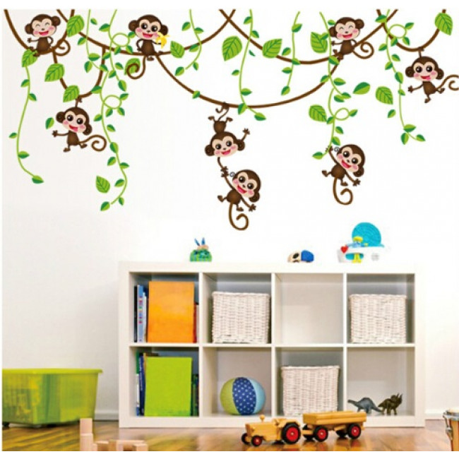 boom aapjes dieren stickers vrolijke dieren. Black Bedroom Furniture Sets. Home Design Ideas