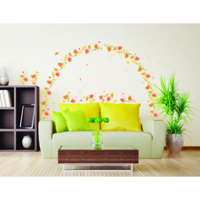 muurstickers oranje bloemen mooiemuurstickersnl