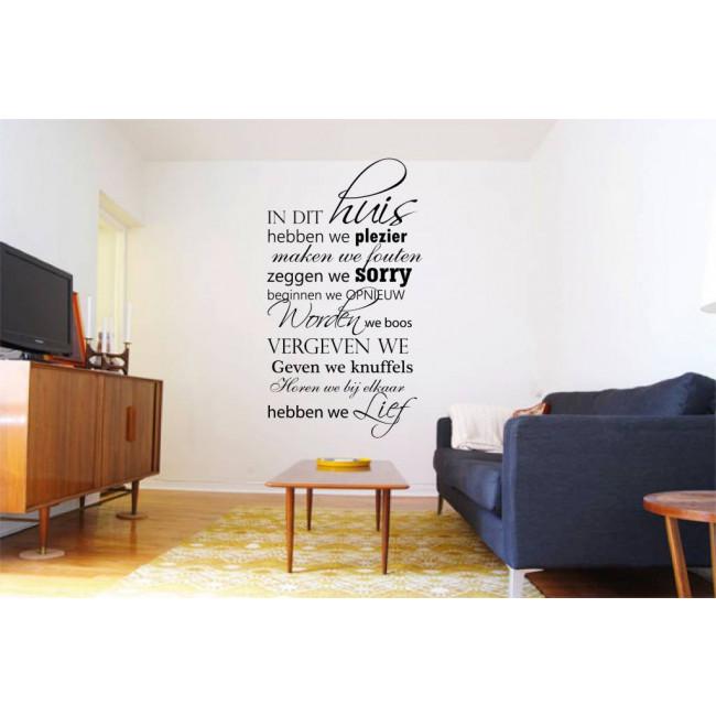 Tekst Muursticker | In Dit Huis Hebben We Plezier | MooieMuurstickers.nl
