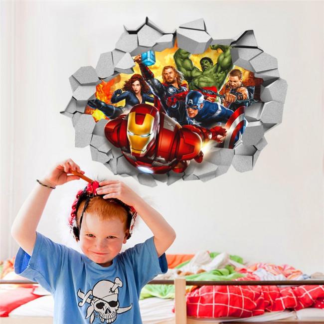 Stickers Voor Op De Muur Kinderkamer.Muursticker Marvel Helden Door Muur