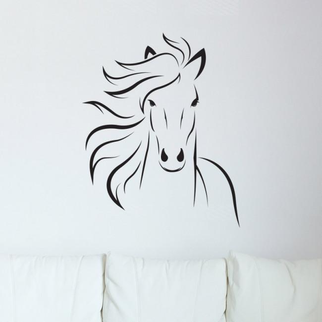 Paarden Sticker Muur.Muurstickers Paardenhoofd Zwart Muurstickers Kinderkamer