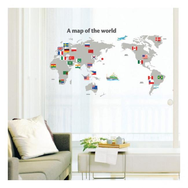 Muurstickers | Wereld Kaart | MooieMuurstickers.nl
