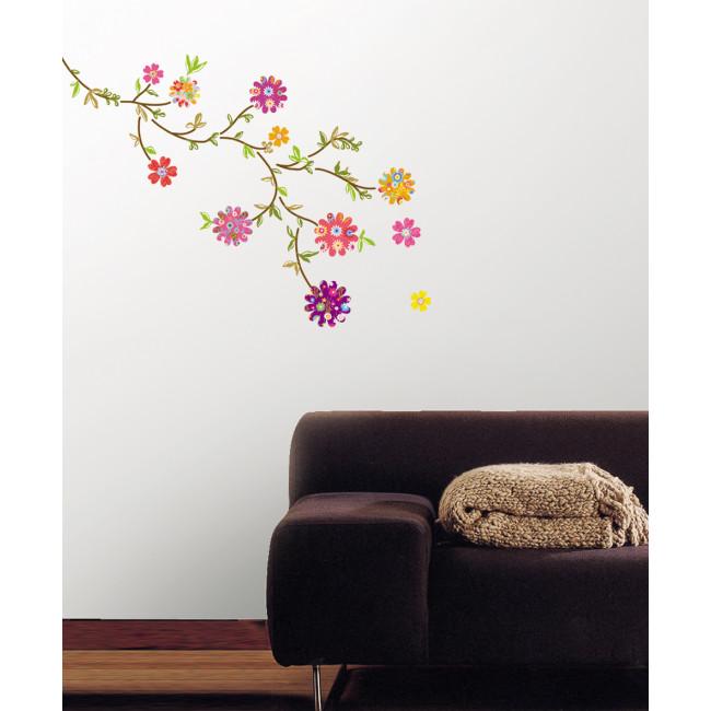 muurstickers felgekleurde bloemen mooiemuurstickersnl