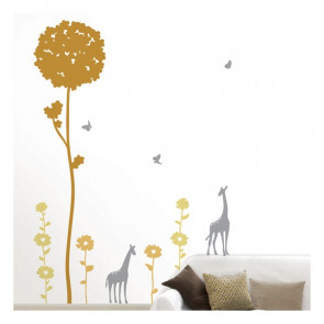 muurstickers slaapkamer Giraffes & Bomen