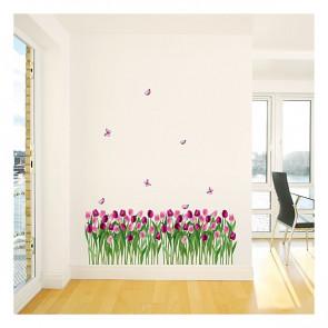 muurstickers bloemen tulpen & vlinders