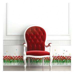 muurstickers bloemen tulpen hek