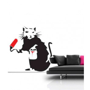 banksy muurstickers painting rat