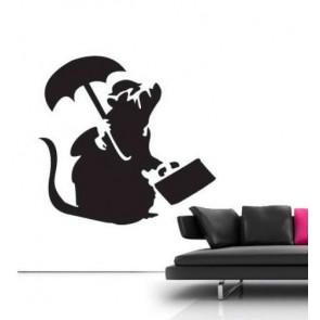 banksy muurstickers business rat