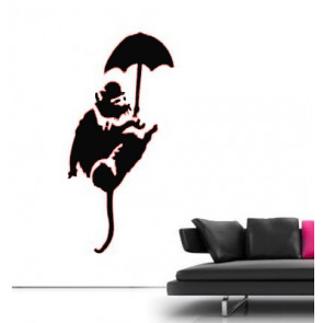 banksy muurstickers umbrella rat