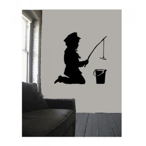 banksy muurstickers fishing boy
