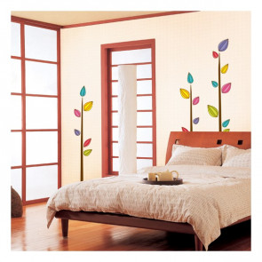 muurstickers slaapkamer Gekleurde Bladeren Boom
