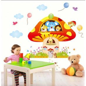 muurstickers babykamer paddenstoel met circusdieren