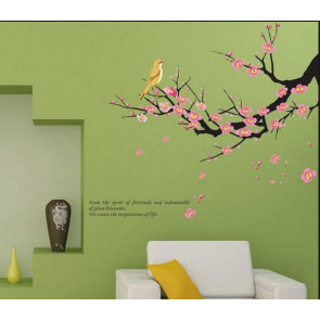 muursticker boom boomtak met vogel & quote