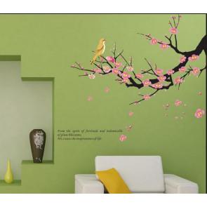 muursticker boom boomtak met vogel & quote