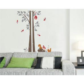 muurstickers kinderkamer boom met eekhoorntjes