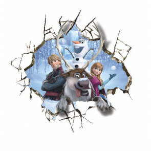 Muursticker - Disney Frozen - Anna - Olaf - Rendier - Hole