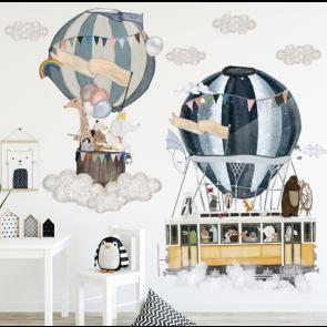 Muursticker Luchtballon Met Dieren