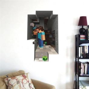 Muursticker Minecraft 3D Muur