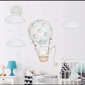 Muursticker Olifant & Luchtballon