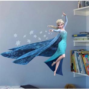 Muursticker Frozen Elsa met ijskristallen