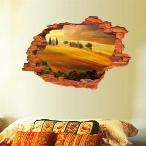 Muursticker Kapotte Muur met Rustgevend landschap