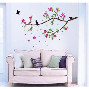 Muursticker Bloemen, Tak en Vogels