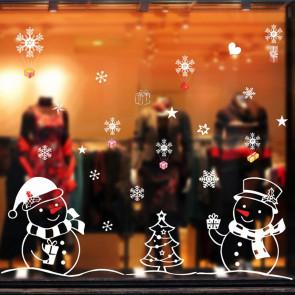 Muursticker Kerst Sneeuwman & Cadeaus
