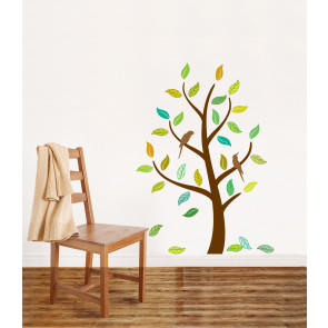 muursticker boom herfstboom & vogels