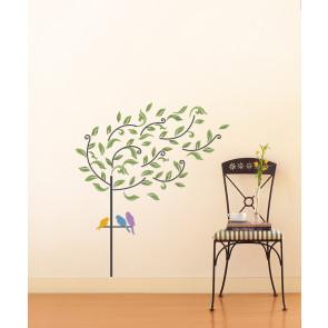 muursticker boom bladeren & vogels