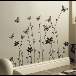 Muursticker Bloemen Met Vlinders