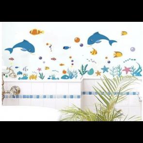 Muursticker Dolfijn met vissen