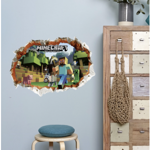 Muursticker Minecraft 3D Kapotte Muur