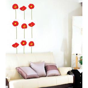 muurstickers bloemen rode klaprozen