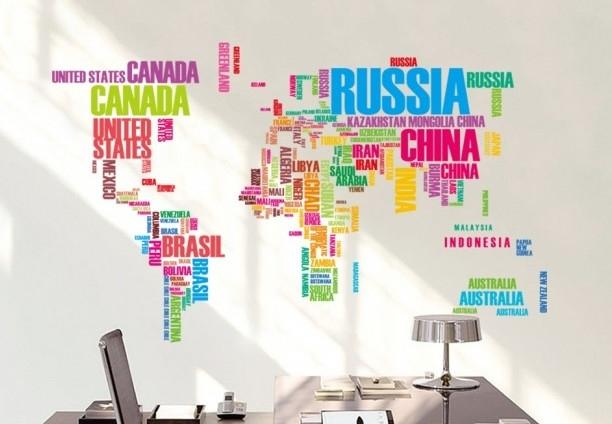 muursticker tekst wereldkaart kleur